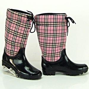 Corky's Footwear Pink Plaid Winter Rain Boot. NEW
